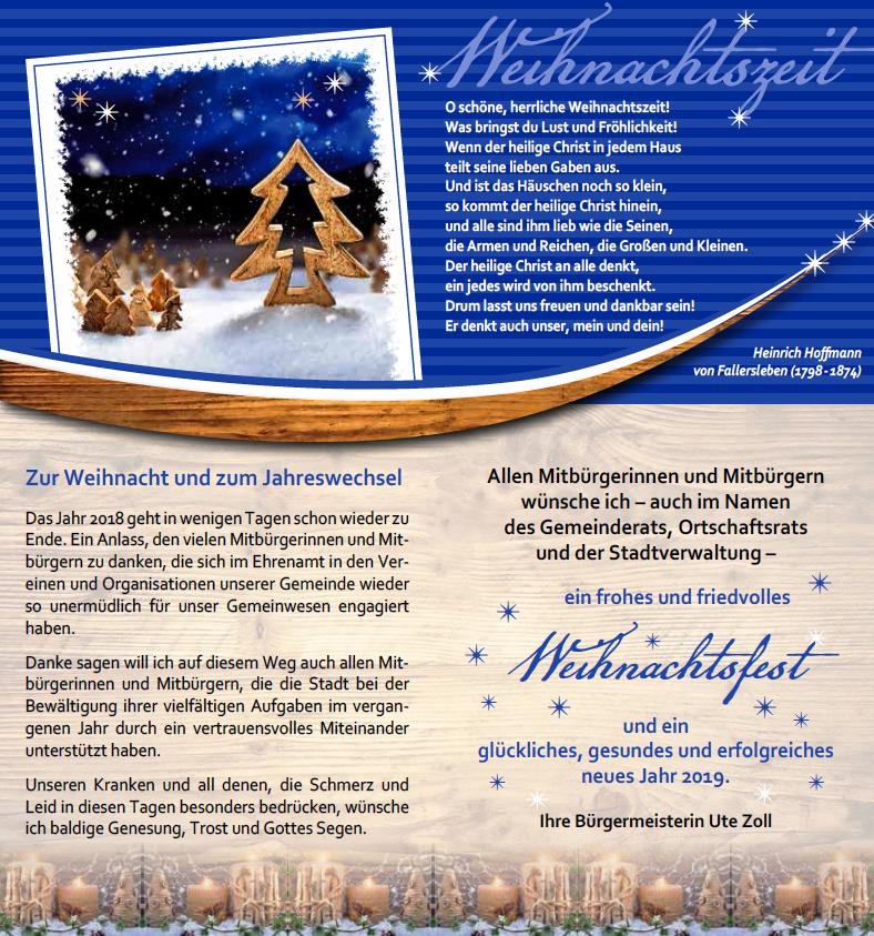 Weihnachtswünsche Für Einen Kranken.Weihnachtsgrüße Stadt Vellberg